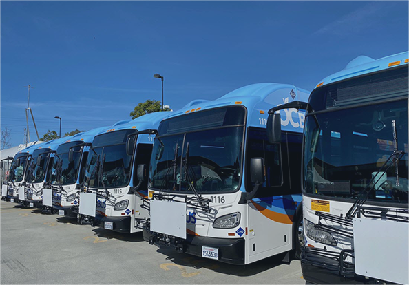 OC Buses lined up in a parking lot