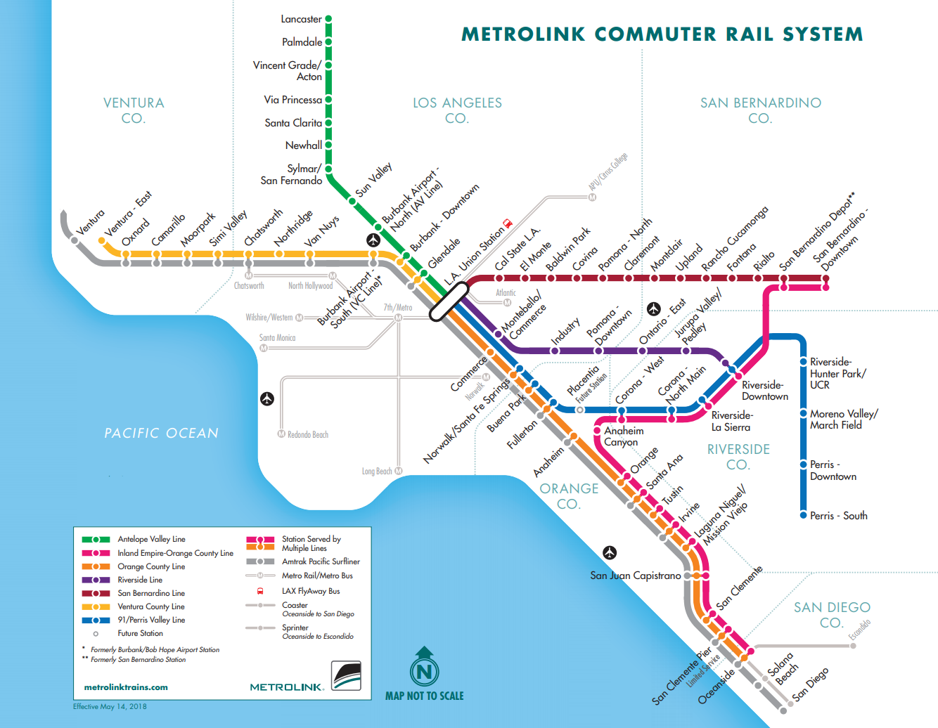 San Diego Subway Map.Metrolink System Map