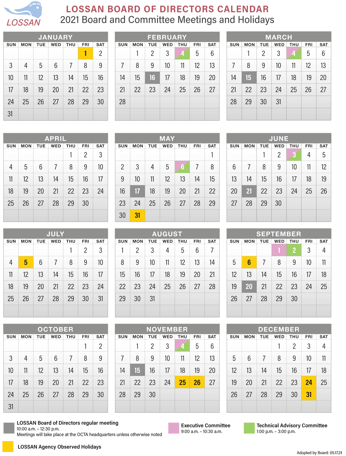 2021 LOSSAN Board Calendar